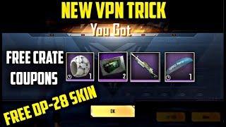 New VPN TRICK | GET FREE DP-28 Skin & 2 Crate Coupons & Parachute in Pubg Mobile