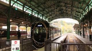"""叡山電鉄「ひえい」 八瀬比叡山口駅発車 """"Hiei"""" Eizan Electric Railway, Yase-Hieizanguchi Station (2018.11)"""