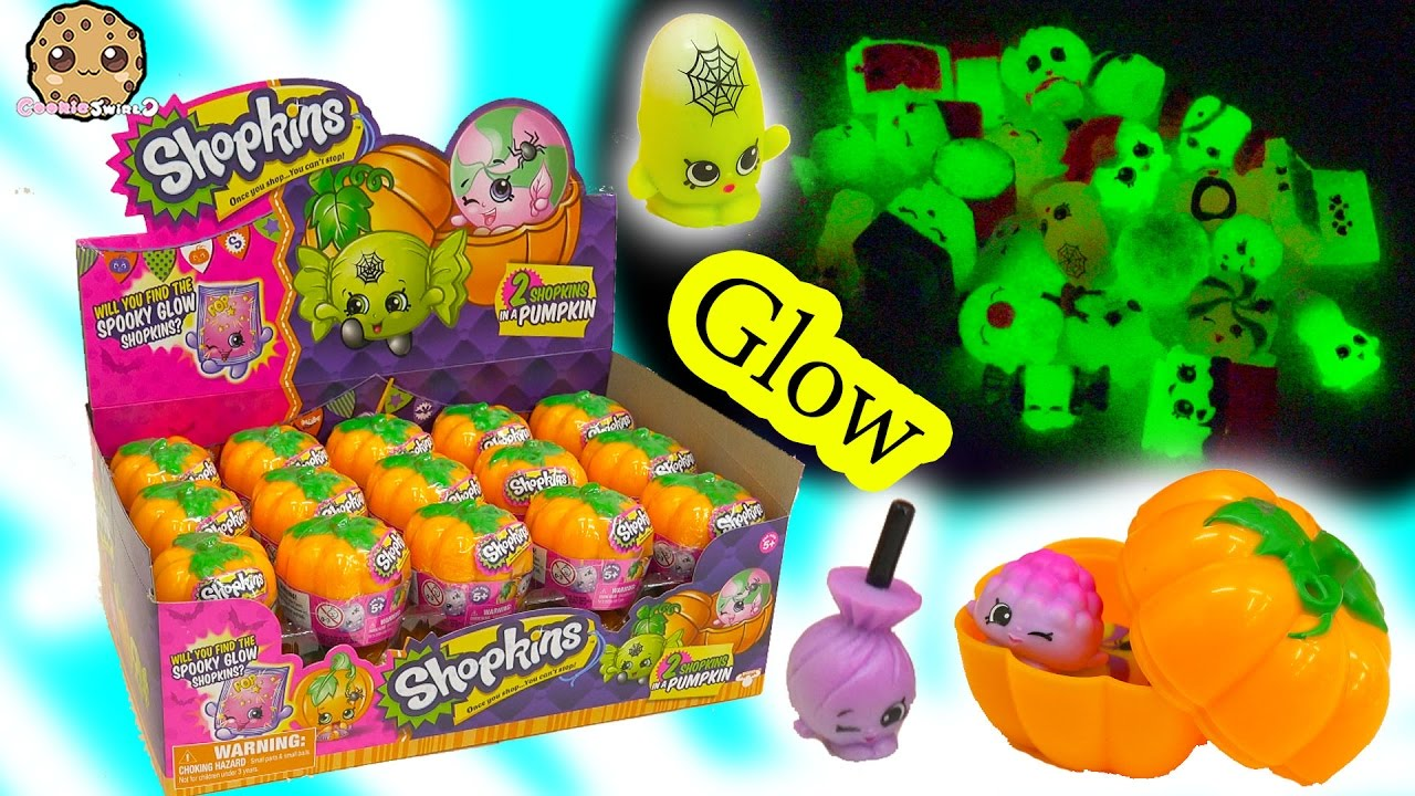 Unboxing Full Box of 30 Shopkins Halloween Glow In The Dark Pumpkin ...