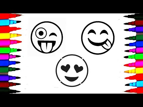 How To Draw and Color Emoji l Emoji Faces Coloring Pages Videos For Kids l Learn Colors