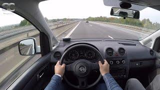 VW Caddy 2.0 EcoFuel (2015) on German Autobahn - POV Top Speed Drive