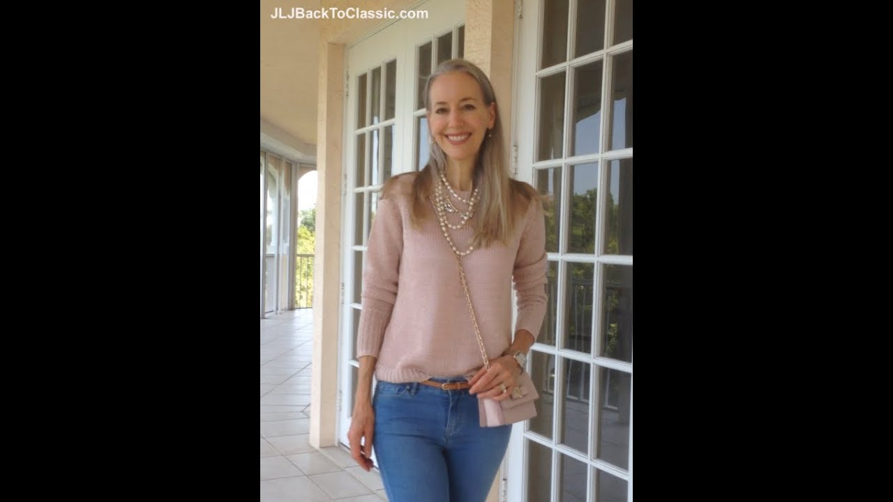 Classic Fashion Over 40 Over 50  Skinny Jeans  Yes  With An Ann     Classic Fashion Over 40 Over 50  Skinny Jeans  Yes  With An Ann Taylor  Sweater  Pearls   Ferragamo