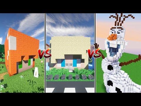 CASA OLAF vs CASA ELSA vs CASA ANNA de FROZEN | Minecraft