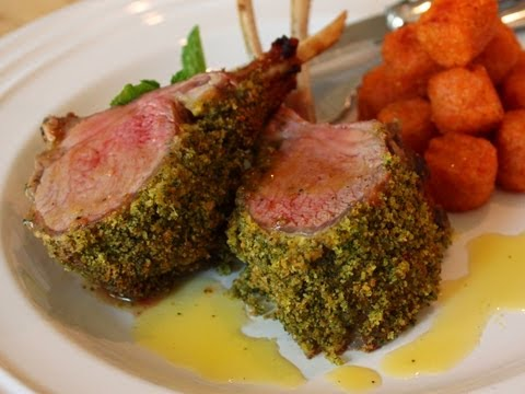 Mint-Crusted Rack of Lamb Recipe - Easter Special! Mint Crust Rack of Lamb with Honey Vinaigrette