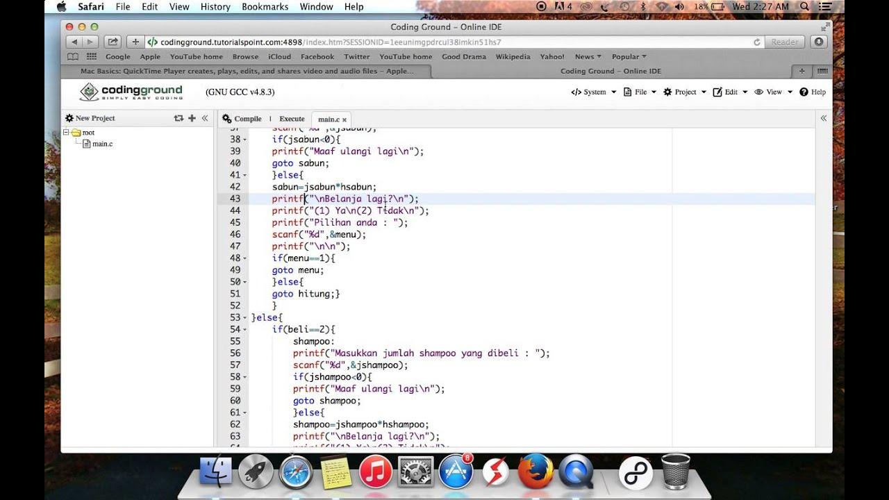 Cara kerja program bahasa C : Mesin Kasir Sederhana - YouTube