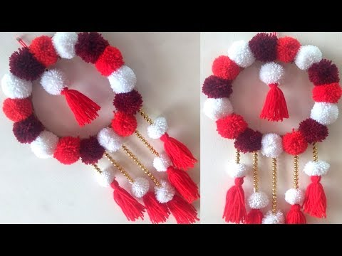 DIY POM POM WALL HANGING || DOOR HANGING TORAN MAKING AT HOME || BEST OUT OF WASTE