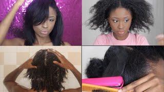 NATURAL HAIR | MY HAIR WASH ROUTINE & SILK PRESS FLAT IRON on KINKY HAIR