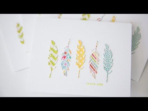 Thank you card - Simon Says Stamp feather die