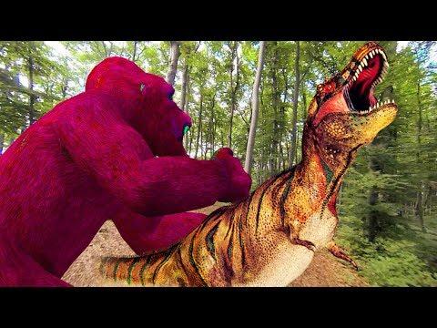 gorila vs dinosaurios peleando   Tiburón de los dinosaurios 3d para niños   canciones infantiles