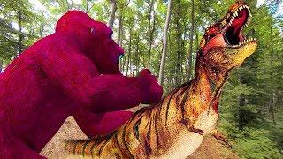 gorila vs dinosaurios peleando | Tiburón de los dinosaurios 3d para niños | canciones infantiles