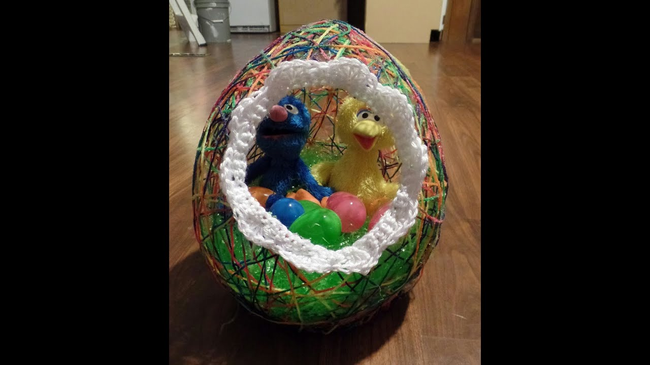 diy yarn easter egg basket easy tutorial 221 learn crochet youtube