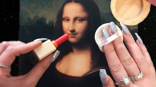 ASMR Wooden Makeup on Mona Lisa (triggers to help you relax, whispering)