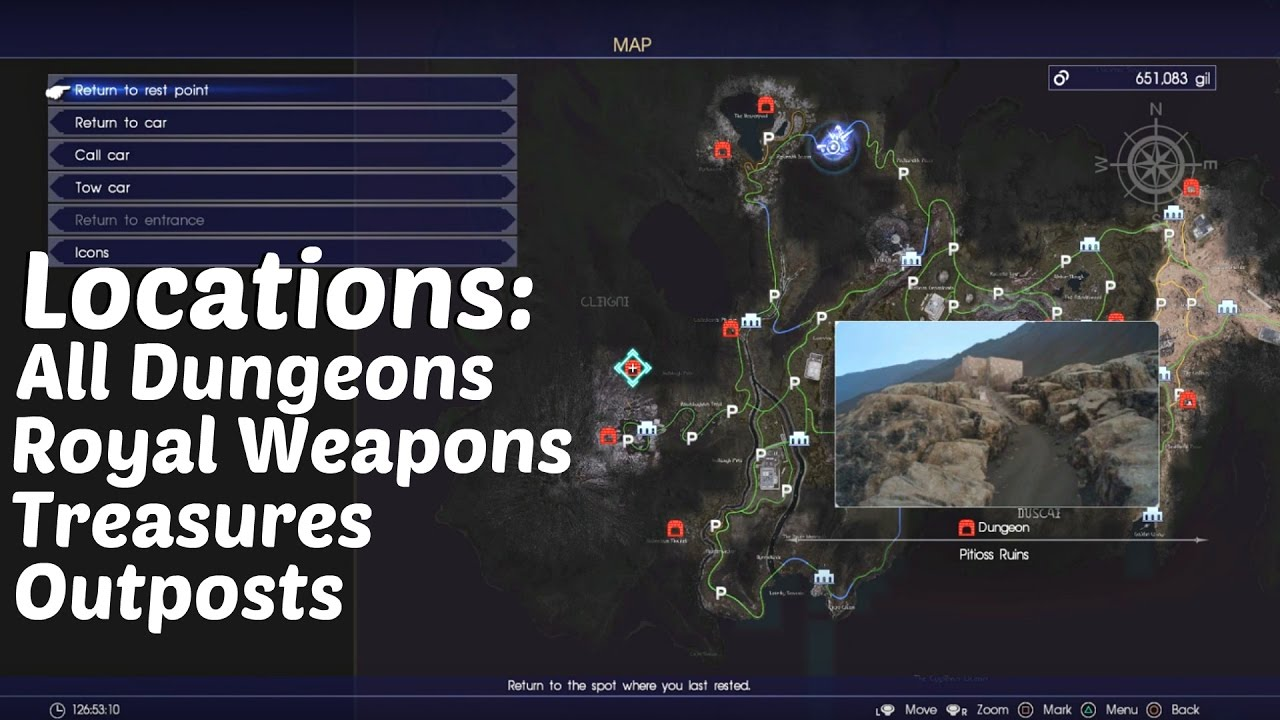 final fantasy xv  locations of all dungeons outposts camps treasures more l full map. final fantasy xv  locations of all dungeons outposts camps