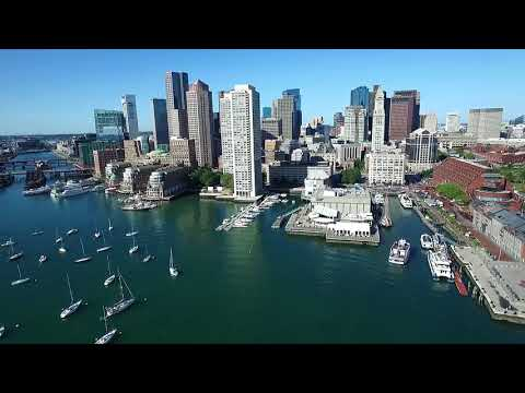 HD 1080 /HISTORIC BOSTON FROM THE AIR / BUSINESS DISTRICT /