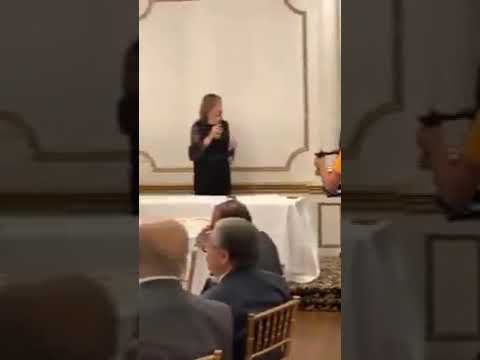 """Egyptian minister of immigration , Nabila Makram, is visiting Canada to say: """"Anyone who speaks against Egypt will be sliced"""", then made a slaughter gesture with her hand. Watch."""