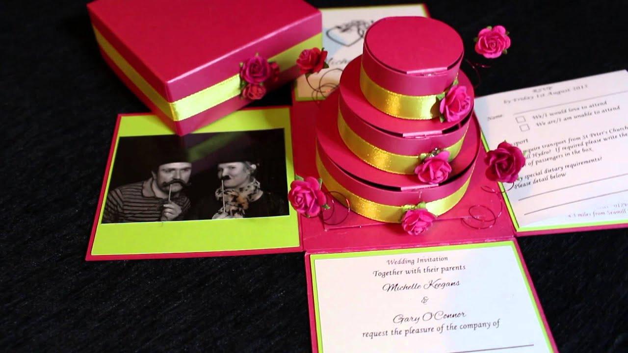 Rose Exploding Box Wedding Invitation - YouTube