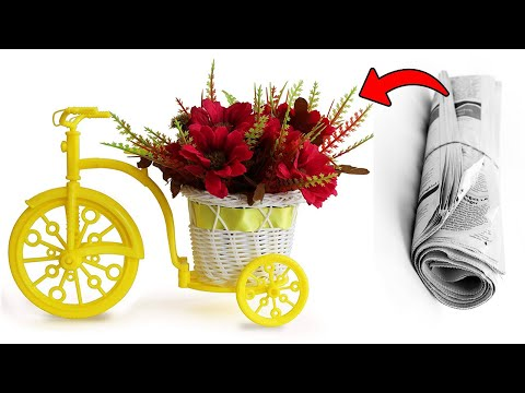 Newspaper Cycle Pen Stand,waste material craft,paper craft idea, newspaper cycle,newspaper basket,