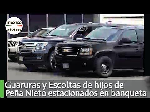 Guaruras y Escoltas de hijos de Peña Nieto estacionados en la banqueta frente a su escuela