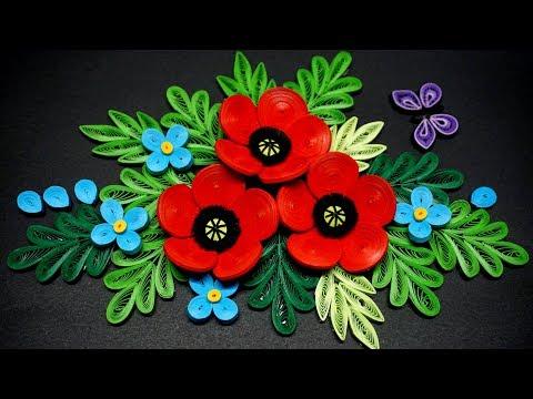 Quilling Poppy Flower V2 Tutorial   Cómo hacer un tutorial de quilling de flores de amapola