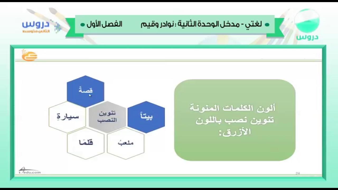 الثاني المتوسط | الفصل الدراسي الأول 1438 | لغتي | الوحدة الثانية نوادر وقيم