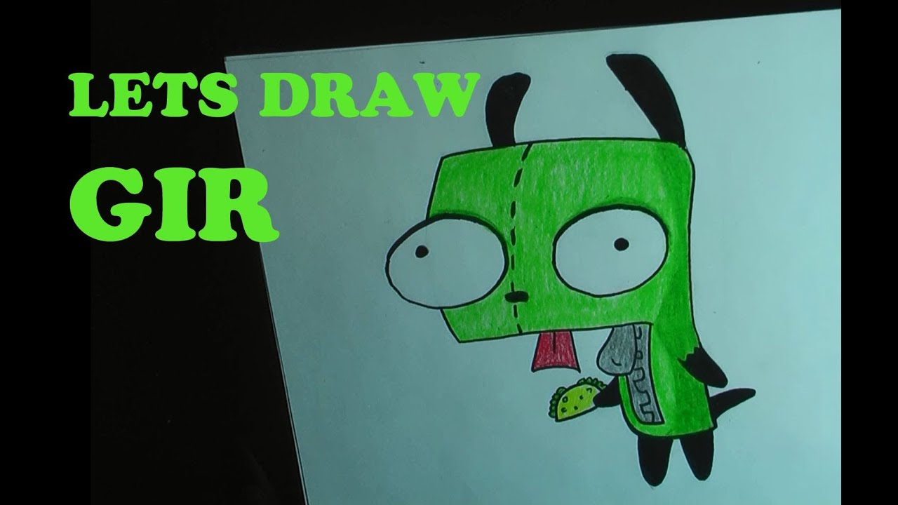 How To Draw Gir From Invader Zim In Pencil