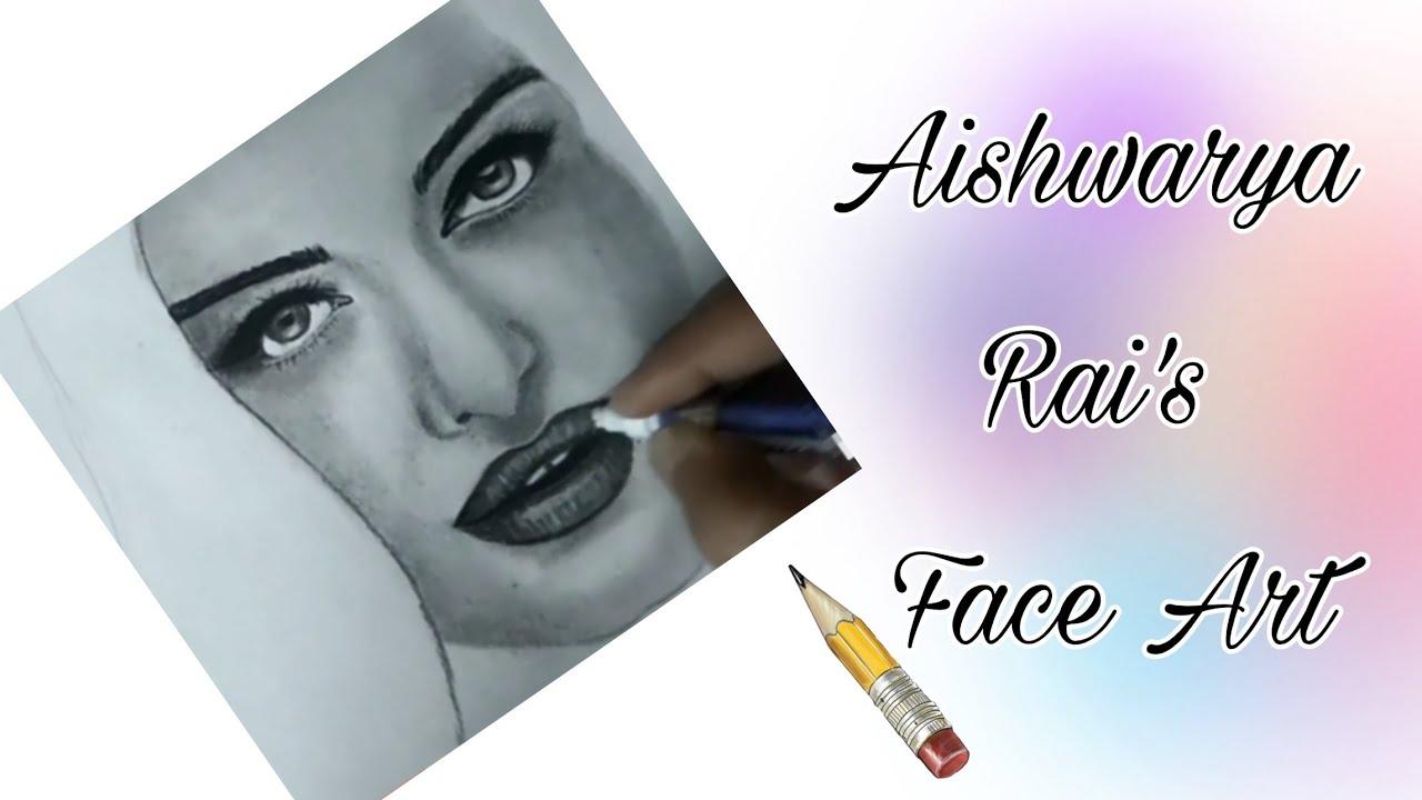 Aishwarya rai pencil drawing sketch portrait