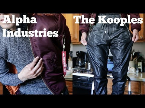 Wearing MA-1 Slim Fit Bomber Jacket With The Kooples Leather Joggers