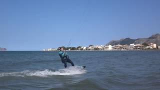Katy first waterstart kitesurfing lessons in Mallorca in April www edmkpollensa com
