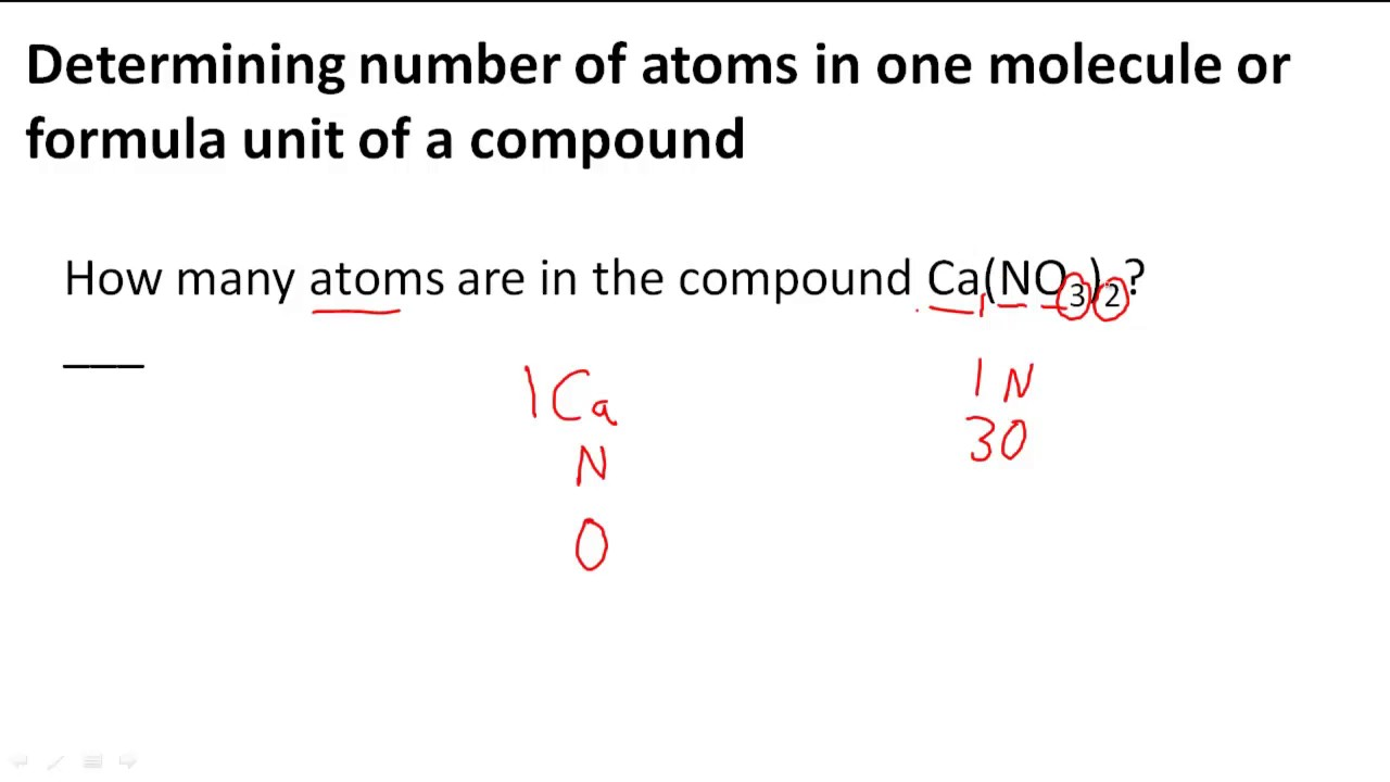 Determining Number Of Atoms In One Molecule Or Formula Unit Of A