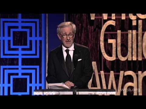 Steven Spielberg presents the WGAW Paul Selvin Award to Lincoln's Tony Kushner