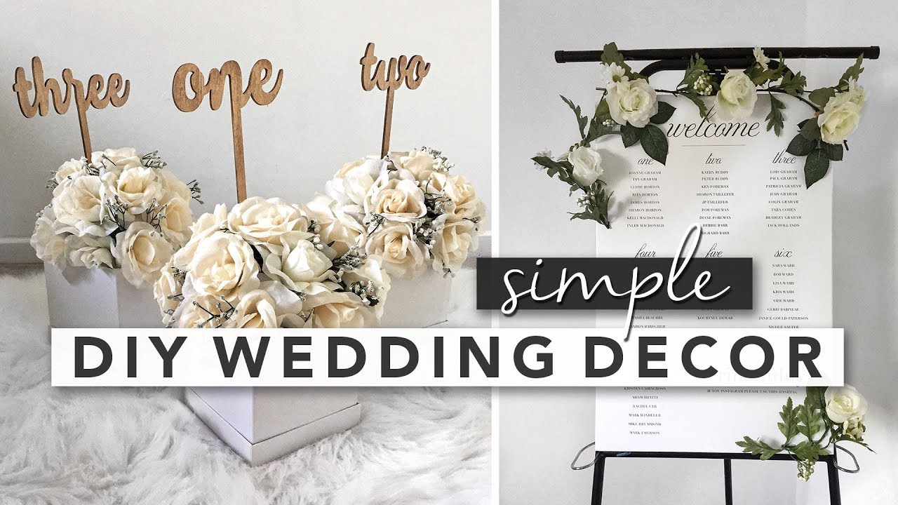 Simple DIY Wedding Decor | Centerpieces, Signs, Party Favours - YouTube