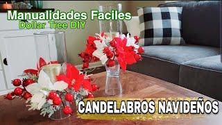 IDEAS PARA DECORAR TU CASA EN NAVIDAD | CANDELABROS NAVIDEÑOS | DOLLAR TREE DIY | CHRISTMAS DIY