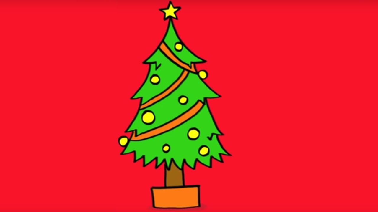Apprendre dessiner un sapin de no l how to draw a - Comment faire un pied de sapin de noel ...
