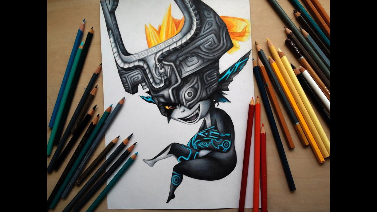 Zelda Twilight Princess Coloring Pages - Drawing midna from the legend of zelda twilight princess