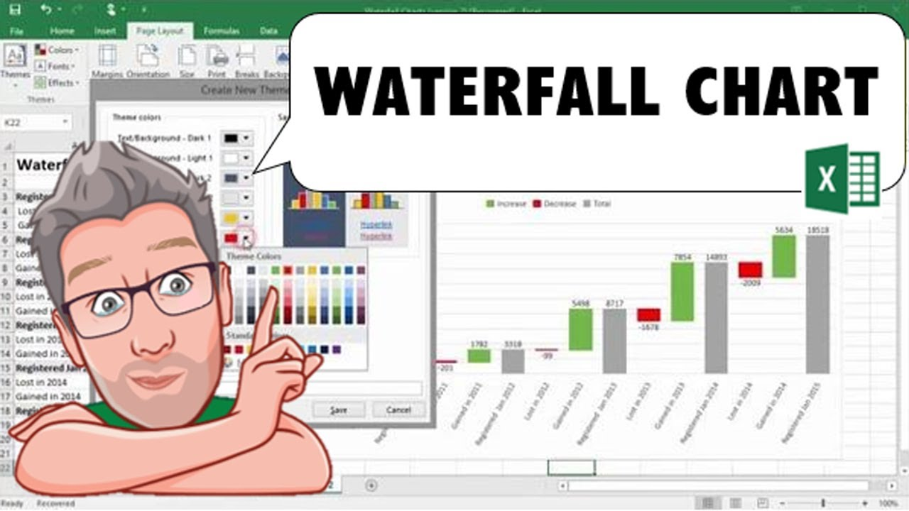 Creating a waterfall chart in excel 2016 youtube ccuart Image collections