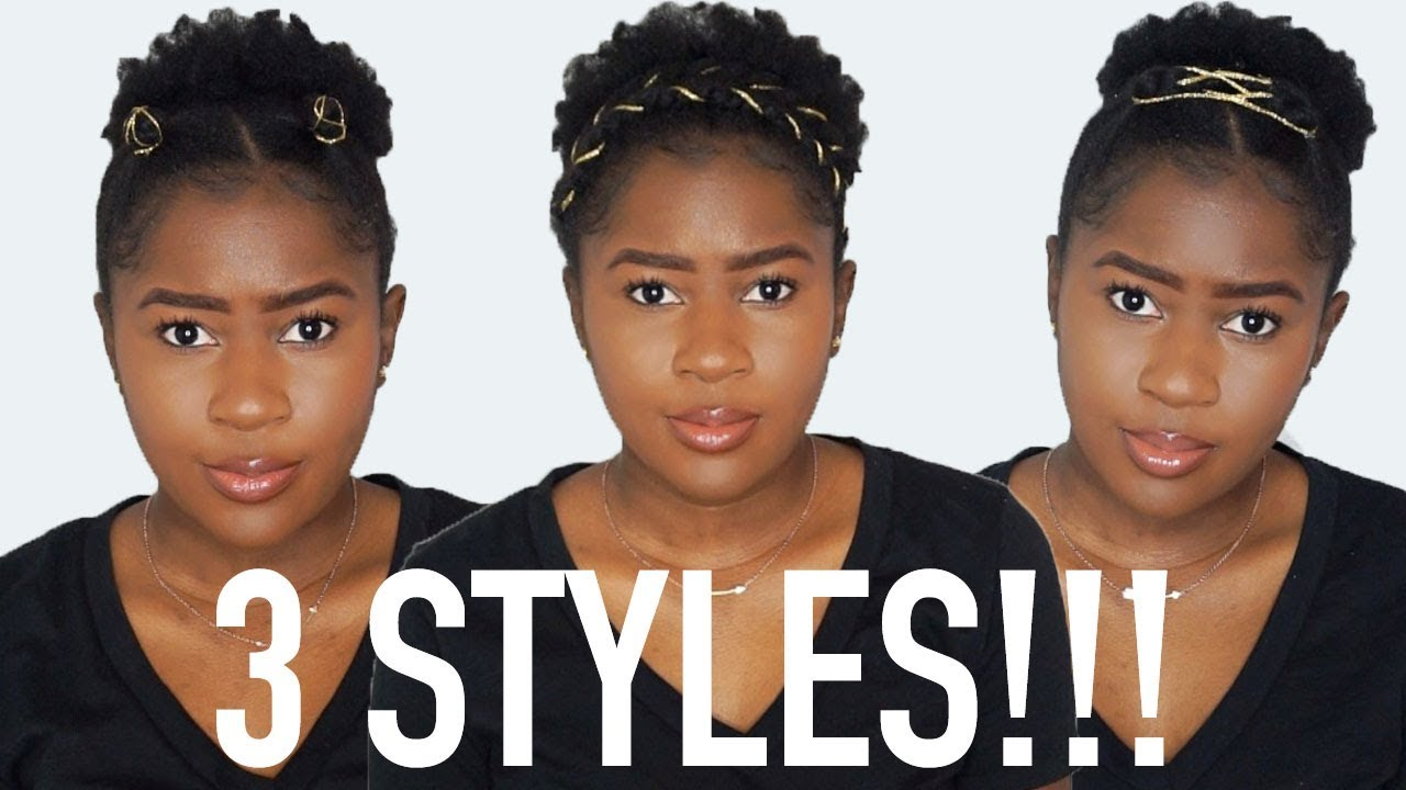 3 Easy Puff Styles Using Gold Rope On Short 4c Natural Hair Mona