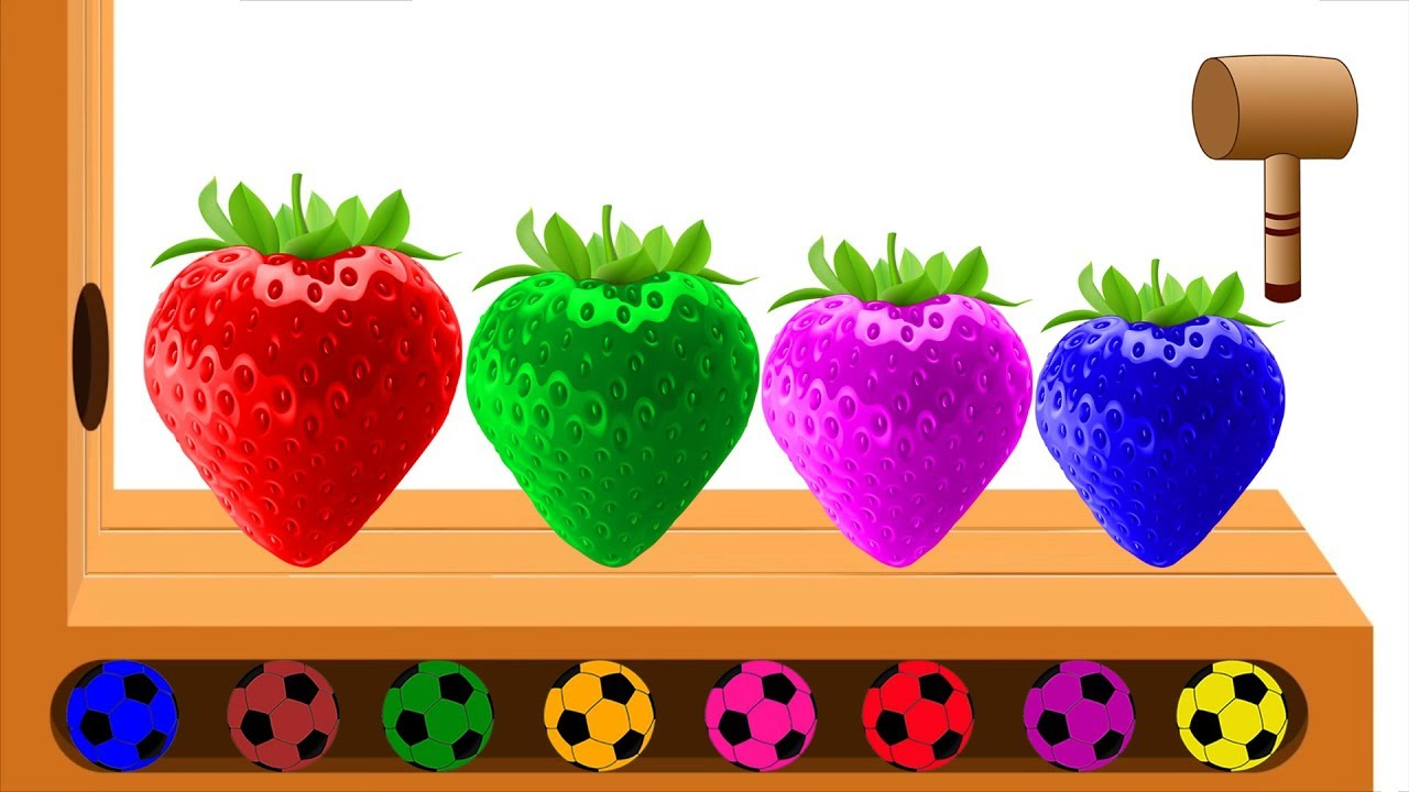 Learn Colors With Strawberry Finger Family - Colorful Strawberry Wooden Hammer Soccer Balls For