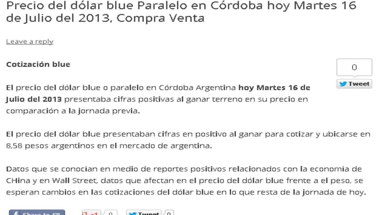 Precio Del Dólar Paralelo En Córdoba Hoy Martes 16 De Julio 2017 Cotización