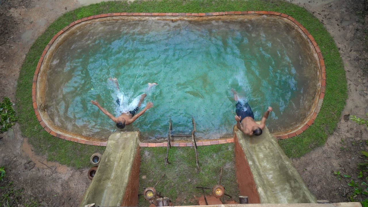 Build The Most Primitive House And Water Slide To Deep Swimming Pools