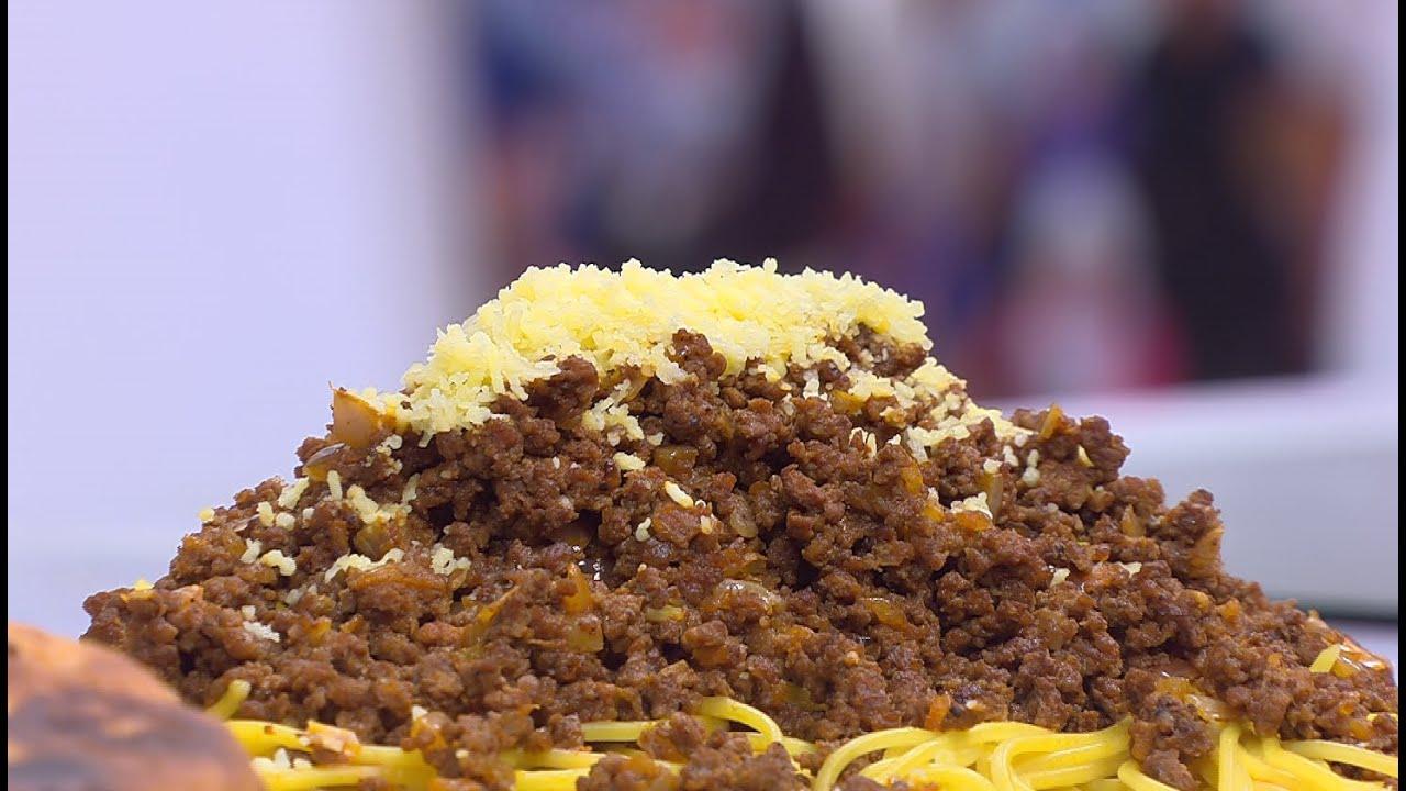 مكرونة باللحمة المفرومة و الجبنة : نجلاء الشرشابي