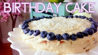 Lemon Blueberry Birthday Cake | Cheap Clean Eats