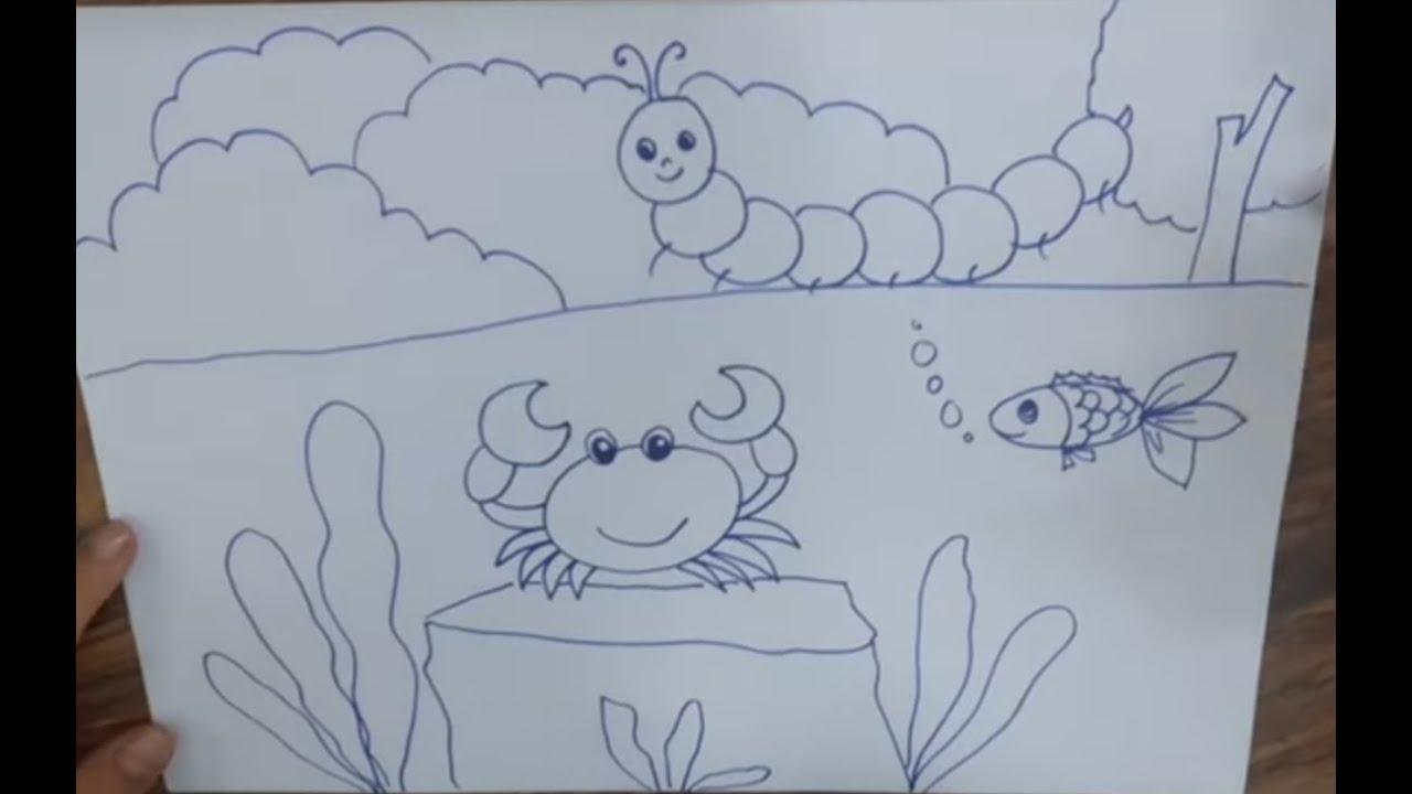 Hướng dẫn cách vẽ CON CUA, CON SÂU TRANH PHONG CẢNH – How to draw a Crab, a Worm,  Landscape pictu