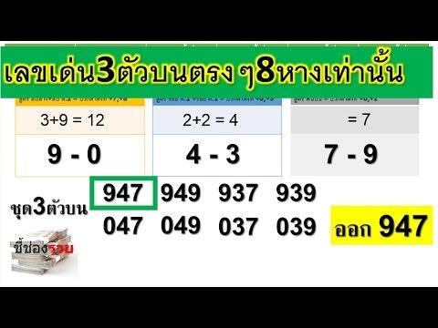 เลขเด่น 3 ตัวบนตรงๆ 8 หางเท่านั้น พร้อมสูตร งวด 1 พ.ย.59 สูตรทดลอง มาดูกันว่าจะเดินต่อไหม