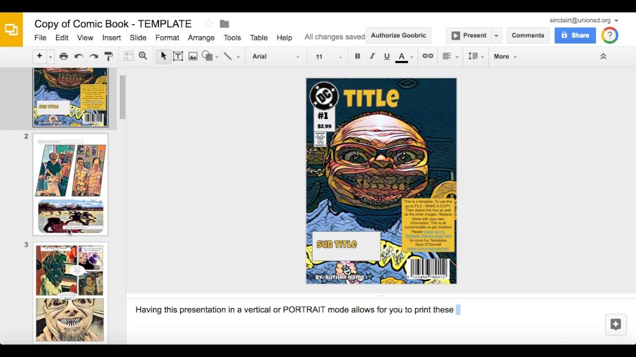 Graphic Novel Google Slides YouTube - Google docs novel template