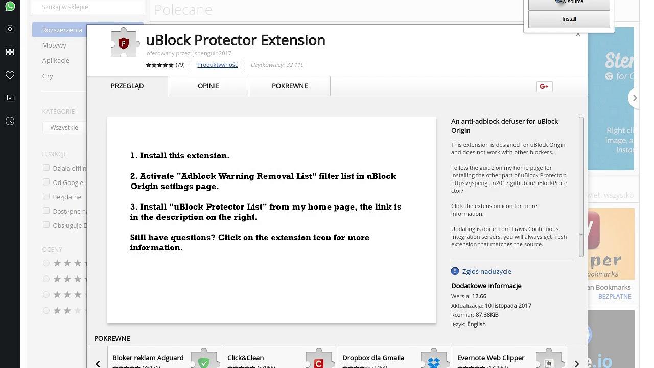 Instalowanie uBlock Protector Extension/Nano Defender w Operze