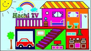 Cómo dibujar y colorear una casa - How to Draw House - Learn English & Draw / Hachi TV