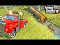 HEAVY WRECKER JOB! TRYING TO WINCH DROWNED SEMI OUT OF LAKE   FARMING SIMULATOR 2019