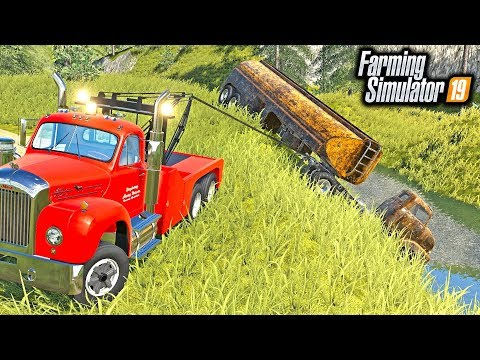 HEAVY WRECKER JOB! TRYING TO WINCH DROWNED SEMI OUT OF LAKE | FARMING SIMULATOR 2019