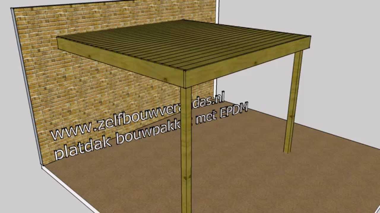 overkapping hout platdak constructie wwwzelfbouwverandasnl youtube