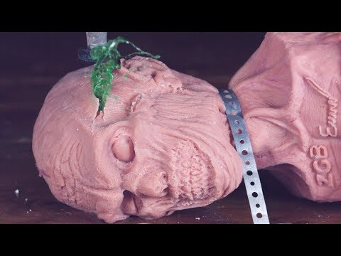 Anatomically Correct Head Cut In Half with 60000 PSI Waterjet Slow Motion - Zombie Go Boom Head